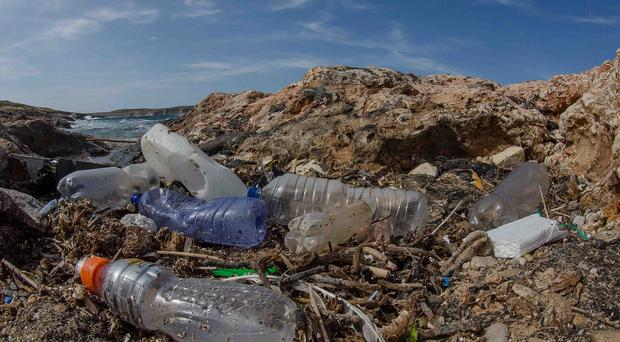 Plastic pollution on a beach as Pennon announces plans to recycle more of the waste product (PA)