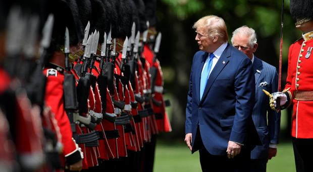 US President Donald Trump with the Prince of Wales (PA)