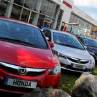 Honda cars on the forecourt at Honda car showroom in Chiswick.