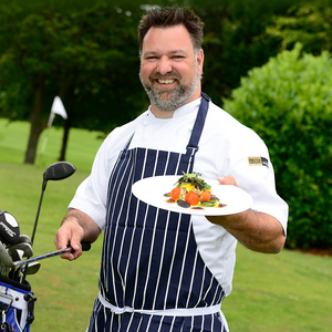 Sodexo chef Fritz Machala highlighting the company's support for NI food suppliers ahead of the 148th Open at Royal Portrush