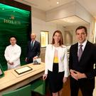L-R: Hok Man Pang, watch-maker; Nick Megarry, watch manager; Suzanne Lunn, marketing director and John Lunn, managing director