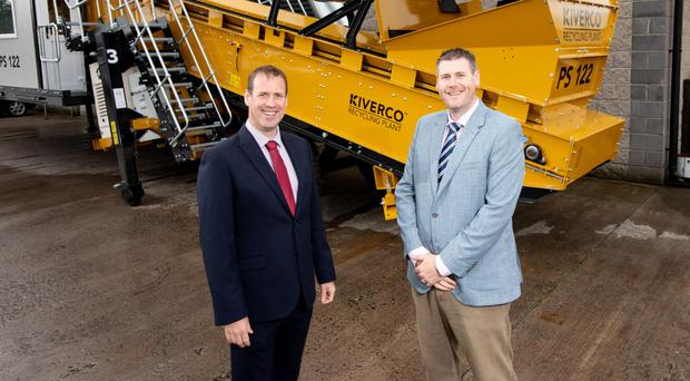 Invest NI's Steve Harper with John Megarry, head of sales at Kiverco