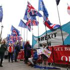Pro and anti-Brexit demonstrators outside the Houses of Parliament (PA)