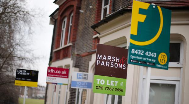 A row of To Let estate agent signs placed outside houses in north London. House sales across UK cities are taking the longest time to sell in the last three years, according to new figures from Zoopla (Yui Mok/PA)