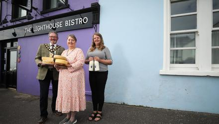 Mayor of Mid and East Antrim Borough Council, William McCaughey, Carol Koster of Carrickfergus Cheese and Erica Porter Lutzman, owner of the Lighthouse Bistro in Whitehead