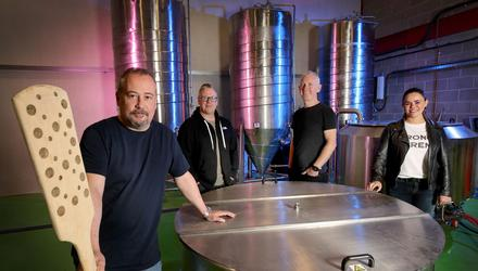 The team behind the new brewery and planned distillery in Lurgan including Martin Dummigan, Vernon Fox, Patrick McAliskey, and Shauna Travers
