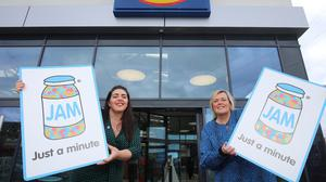 Maeve Monaghan, chief executive of NOW Group is pictured with Angela Connan, corporate social responsibility manager, Lidl Northern Ireland.
