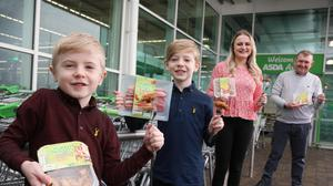 From left, brothers Kyle and Jude; Laura Wills, new product development manager for Finnebrogue; and Robert Ryans, general store manager, Asda Antrim.