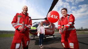 Dr Andrew Topping, HEMS; Colleen Milligan, Air Ambulance NI area fundraising manager; and Caroline Bowles, paramedic, HEMS.