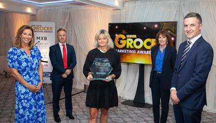 Claire McCollum, host of the Ulster Grocer Marketing Awards; Christopher Keenan, Ulster Grocer; Candida Corscadden, Hovis Ireland, winner of Best Marketing Campaign; Alyson Magee, Ulster Grocer; and Lance Hamilton, Mash Direct, category sponsor.
