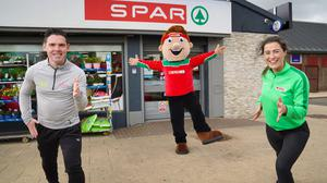 Paul Carvill from Healthy Kidz and Laura McKee from SPAR NI put Sammy SPAR through his paces ahead of Sports Day 2021.