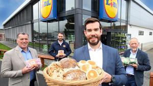 From left, Michael Murphy, chief executive, Irwin's Bakery; Ross Irwin, director, Irwin's Bakery; Ben Woods, supply chain executive, Lidl Northern Ireland; and Brian Irwin, chairman, Irwin's Bakery.