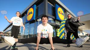 From left, Lucy McGonigle, Regent House Grammar School; Rhys McClenaghan, Sport for Good ambassador and Commonwealth gold medallist; and Angela Connan, corporate social responsibility manager, Lidl Northern Ireland.