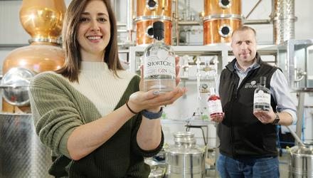 Emma Swan, Asda buying manager, and David Boyd-Armstrong, head distiller and co-founder, Rademon Estate Distillery.