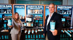 Keavy O'Mahony-Truesdale, brand manager, Barista Bar, and Mark Stewart-Maunder, commercial and development director, Henderson Foodservice.
