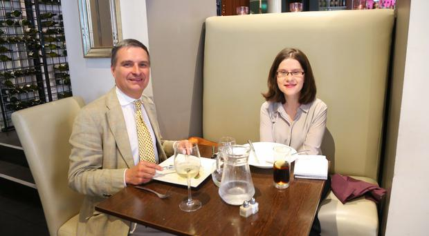 Johnny Andrews, finance director with retailer Clattering Ford, and Belfast Telegraph business editor Margaret Canning at Deanes in Belfast