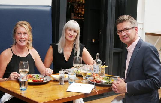 Boris Minne having lunch in Love Fish at Deans in Belfast City Centre with Caroline Mawhinney (left) and Jennifer Barr (centre).