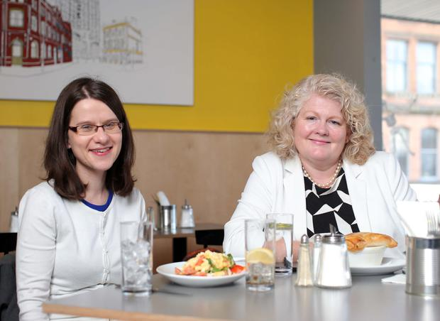 Margaret Canning and Michele Shirlow enjoy lunch at Cast and Crew