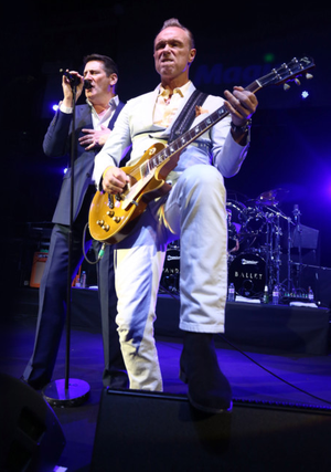 Pure gold: Gary Kemp (right) and Tony Hadley on stage