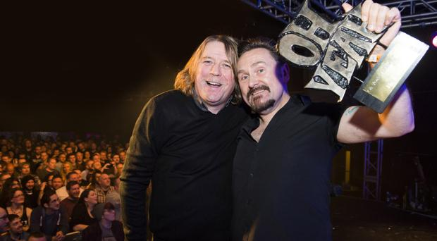 Therapy? lead singer Andy Cairns (right) with BBC's Head of Entertainment Mike Edgar after winning the Oh Yeah Music Centre lifetime achievement award
