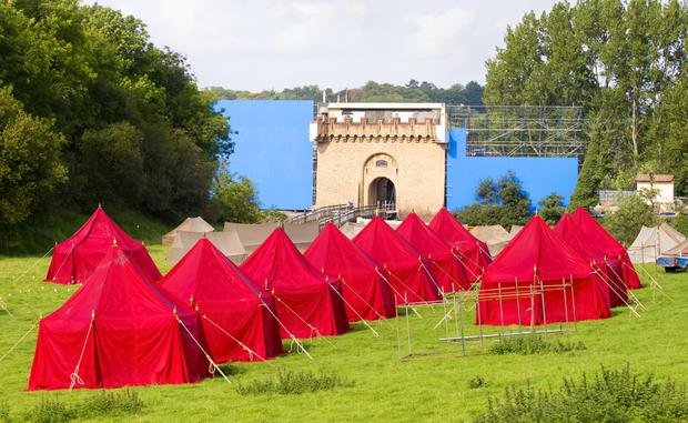 Tents erected at the entrance to what is believed to be Riverrun on the Game of Thrones set being constructed in the village of Corbet
