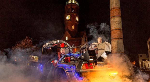 Dan Gordon and Gerard McCabe recreate the famous scene from Back To The Future