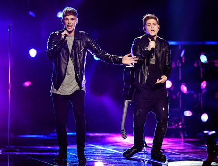 Great Britain's Joe and Jake perform their song You're Not Alone during a rehearsal for tonight's Eurovision Song Contest in Stockholm