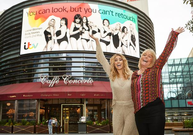 Stacey Solomon and Linda Robson at the unveiling of the Loose Women Body Stories Billboard in London.