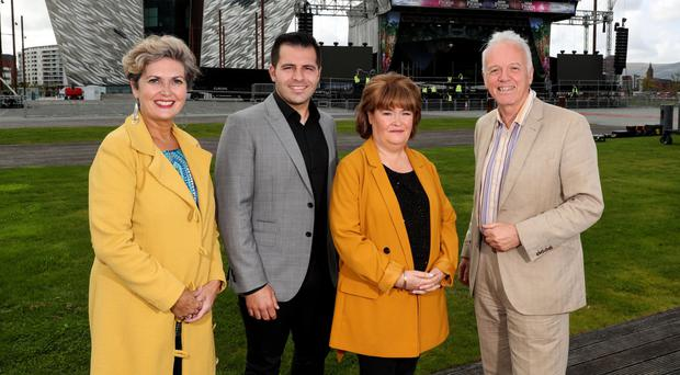 Marie-Louise Muir with Australian tenor Mark Vincent, Susan Boyle, who is headlining the show, and Noel Thompson at Titanic slipway