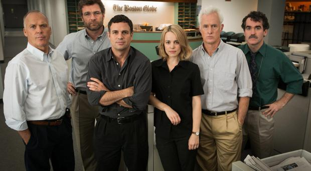 On deadline: from left, Michael Keaton, Liev Schreiber, Mark Ruffalo, Rachel McAdams, John Slattery and Brian d'Arcy James