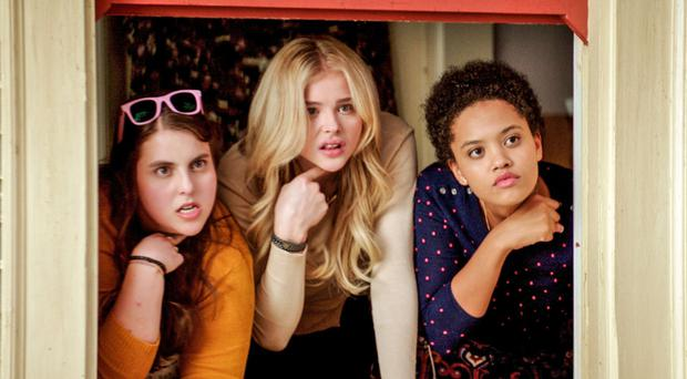 Bad girls: Beanie Feldstein as Nora with Chloe Grace Mortez and Kiersey Clemons