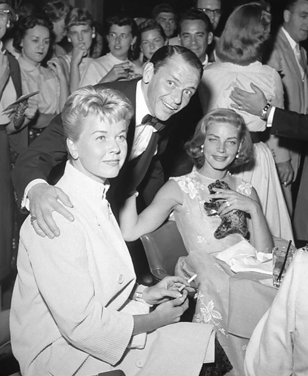 Doris Day with Frank Sinatra and Lauren Bacall in 1956