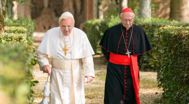 Veteran greats: Anthony Hopkins (left)and Jonathan Pryce starring in The Two Popes