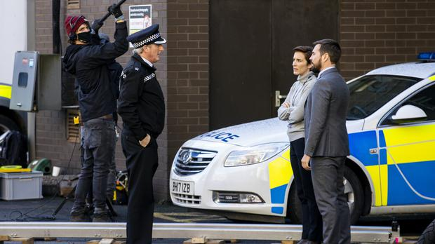 Adrian Dunbar, Vicky McClure and Martin Compston on the set of the sixth series of Line of Duty (Liam McBurney/PA)