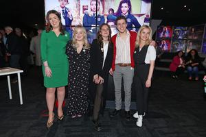 Writer Lisa McGee with cast members Nicola Coughlan, Louisa Harland, Dylan Llewellyn and Saoirse-Monica Jackson (Niall Carson/PA)