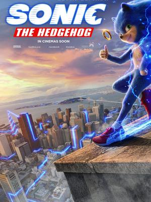 A poster featuring the version of Sonic the Hedgehog that sparked criticism (Paramount/SEGA/PA)