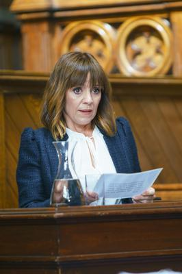 Rhona faces a nervous wait in court (Amy Brammall/ITV)