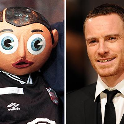 Michael Fassbender, right, plays the part of Chris Sievey who performed as Frank Sidebottom, left