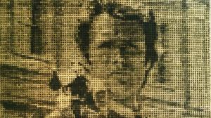 Mosaic of US movie star Clint Eastwood made from thousands of bullet cases which has been created to mark his 85th birthday by Manchester artist Ed Chapman.
