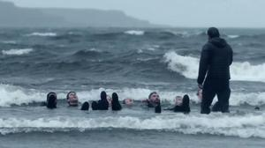 The seven recruits must lie in the water for nearly half an hour (Channel 4).