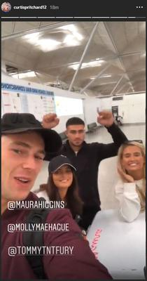 Curtis Pritchard and the other islanders arriving in London (Curtis Pritchard/Instagram)