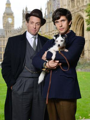 Hugh Grant playing Jeremy Thorpe and Ben Whishaw playing Norman Scott on set for BBC One's A Very English Scandal.