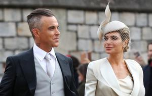 Robbie Williams and Ayda Field at the wedding of Princess Eugenie and Jack Brooksbank (Gareth Fuller/PA)