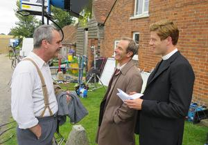 Neil Morrissey (left) with James Norton (right) and Robson Green on the set of Grantchester (ITV)