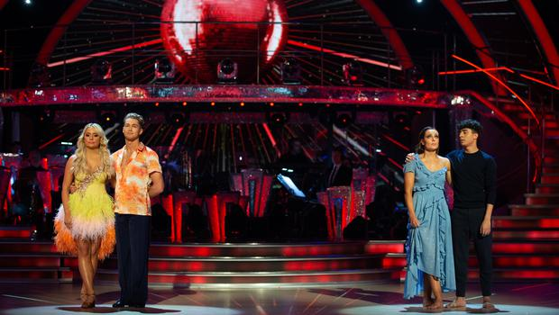 Saffron Barker and AJ Pritchard, and Karim Zeroual and Amy Dowden in the bottom two (Guy Levy/BBC)