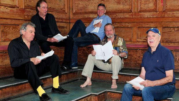 Terry Jones, Eric Idle, Michael Palin, Terry Gilliam and John Cleese are seen rehearsing in 2014 (Ian West/PA)