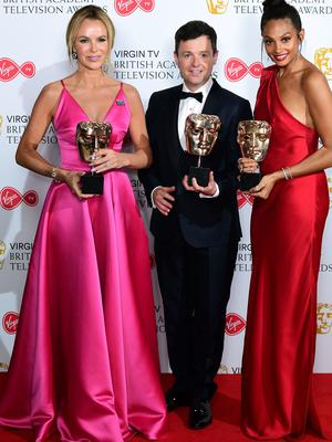 Declan Donnelly, Alesha Dixon and Amanda Holden collect the award for best entertainment programme for Britain's Got Talent (Ian West/PA)