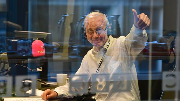John Humphrys presenting his final show on the Today programme (Jeff Overs/BBC/PA)