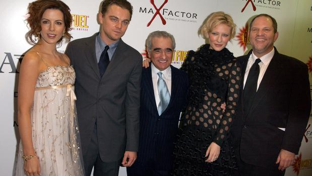 Cate Blanchett and Harvey Weinstein with Kate Beckinsale, Leonardo DiCaprio and Martin Scorsese at The Aviator's UK premiere.