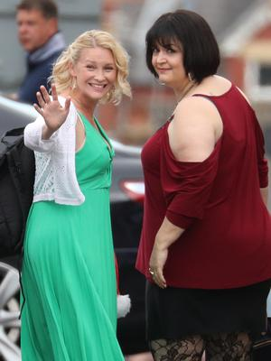 Joanna Page and Ruth Jones during filming for the Gavin and Stacey Christmas special (Andrew Matthews/PA)